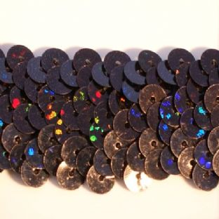 DISCONTINUED 28mm Hologram Black Stretch Sequin Braid. BUY 1 GET 1 FREE